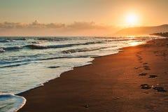Beautiful sea coast in the morning sunlight Stock Photos