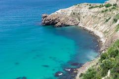 Beautiful sea coast. Beautiful rocky coast of Black sea stock photo