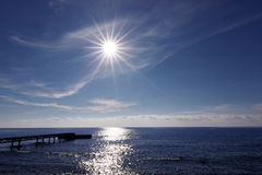 Beautiful sea horizon, Sun over the sea Stock Photography