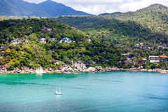 Beautiful sea landscape, blue tropical ocean and green hills Royalty Free Stock Photos