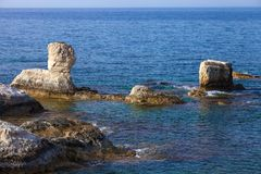 Coast of Mediterranean sea in Cyprus Stock Images