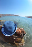 Beautiful sea landscape with hat. Elounda Stock Image