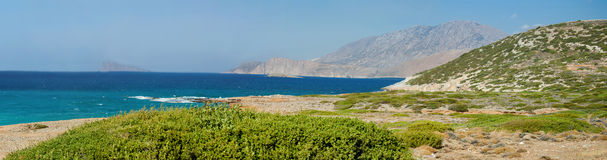 Beautiful sea landscape panorama of Crete Stock Photography