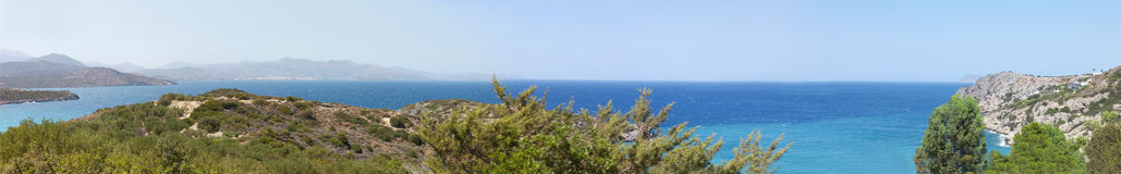 Beautiful sea landscape panorama of Crete, Greece Royalty Free Stock Photos