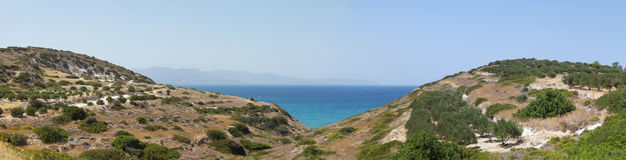 Beautiful sea landscape panorama of Crete, Greece Stock Photos