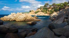 Beautiful sea landscape with rocky beach in Costa Brava, Spain. Spanish scenic coast with stones in seaside stock photo