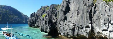 Beautiful sea landscape with sharp rocks .  Palawan Island . Stock Photos