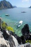Beautiful sea landscape with sharp rocks .  Palawan Island . Stock Image