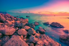 Sea coast at sunset. Scenic water landscape stock photography