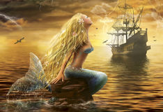 Beautiful Fantasy Sea Mermaid with  Ship at Sunset background Royalty Free Stock Images