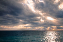 Beautiful sea panorama with empty horizon line and cloudy sky. Stock Photography