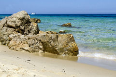 Beautiful sea in Sardinia. Beautiful sea in Sardegna - sand and rocks - Italy royalty free stock image