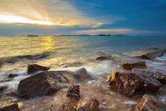 Beautiful sea scape against sun set sky at laem chabung chonburi. Eastern of thailand Stock Photography
