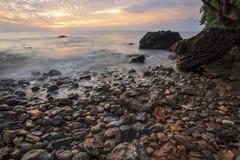 Beautiful sea scape dramatic sky morning sun rising of wang kaew Stock Photo