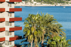 Beautiful sea scape with hotel in Majorca Royalty Free Stock Photography