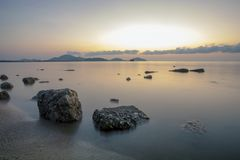 Beautiful sea scape with morning light at saphan hin beach phuke Royalty Free Stock Images
