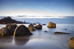 Beautiful sea scape sun rising sky at lan hin khaow mae rumphung Stock Photos