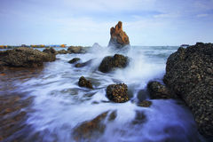 Beautiful sea scape of waves splashing on rock  use for multipur Royalty Free Stock Photography