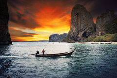 Beautiful sea scape wood boat of Railay bay krabi southern of th. Ailand stock photography