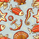 Beautiful sea seamless pattern. Royalty Free Stock Images