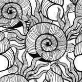 Beautiful sea shell set vector seamless pattern. Stock Photos