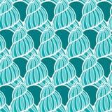 Beautiful sea shell set vector seamless pattern. Stock Photography