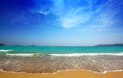 Beautiful sea and sky. And the beach stock photography