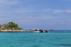 Beautiful sea and sky. With speedboat transportation in Koh Lipe, Satun, Thailand stock photo