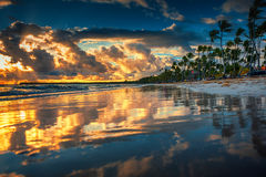 Beautiful Sea Sunrise. Landscape of paradise tropical island beach. Punta Cana beachfront stock photography