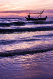 Beautiful sea sunrise and ship. Royalty Free Stock Photo