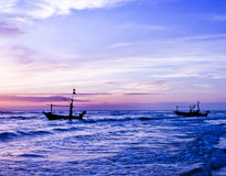Beautiful sea sunrise and ship. Royalty Free Stock Photography