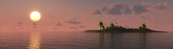 Beautiful sea sunset on the beach with palm trees Royalty Free Stock Photography