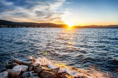 Beautiful sea sunset on the Cote d`Azur in France. Landscape Stock Photo