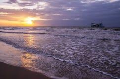 Beautiful sea sunset and ship. Royalty Free Stock Photo