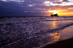 Beautiful sea sunset and ship. Stock Image