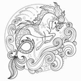 Beautiful sea unicorn surrounded by waves Hippocampus. Black and white. Vector stock illustration