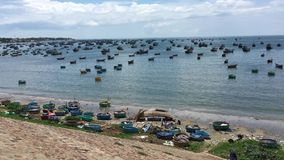 Beautiful sea of Vietnam. Beautiful sea with many fishing boats in Phan Thiet, southern Vietnam stock footage