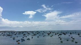 Beautiful sea of Vietnam. Beautiful sea with many fishing boats in Phan Thiet, southern Vietnam. About 200 km north of Ho Chi Minh City are Mui Ne and Phan Thiet stock video footage