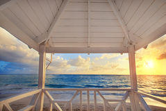 Beautiful sea view from the balcony of the lifegard post, sunris Stock Photography
