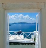 Beautiful sea view from the balcony. Santorini island, Greece. Stock Images