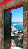 Beautiful sea view from the balcony. Santorini island, Greece. Royalty Free Stock Images