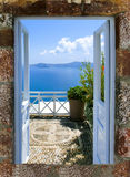 Beautiful sea view from the balcony. Santorini island, Greece. Stock Photo