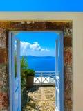 Beautiful sea view from the balcony. Santorini island, Greece. Stock Images