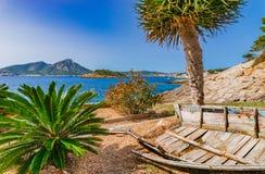 Idyllic seaside view in Sant Elm, Mallorca island. Beautiful sea view at bay of Sant Elm, Majorca, Spain Mediterranean Sea Royalty Free Stock Image