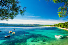 Beautiful sea view with beach Zlatni Rat or Golden Cape Royalty Free Stock Images