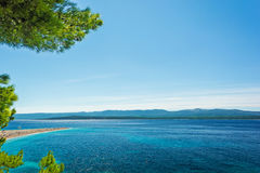 Beautiful sea view with beach Zlatni Rat or Golden Cape Stock Photography