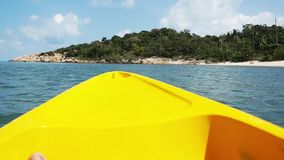 Beautiful sea view from boat nose kayaking in the sea. Thailand. Slow motion. Beautiful sea view from boat nose kayaking in sea. Thailand. Slow motion stock video footage