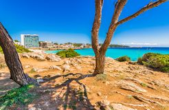 Beautiful sea view at coast of Cala Ratjada, Spain Mediterranean Sea. Coastline of Cala Rajada, beautiful seaside on Mallorca, Balearic islands royalty free stock images