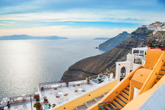Beautiful sea view in Fira town at sunset Royalty Free Stock Image
