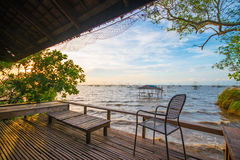 Beautiful sea view in front of private bungalow Stock Photos